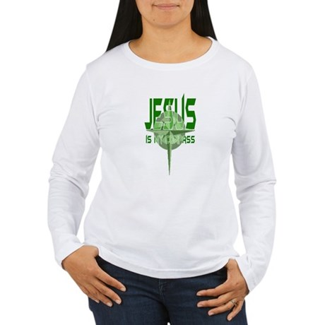 Jesus is My Compass - Green Women's Long Sleeve T-