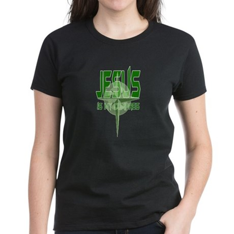 Jesus is My Compass - Green Women's Dark T-Shirt