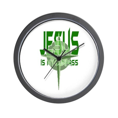 Jesus is My Compass - Green Wall Clock