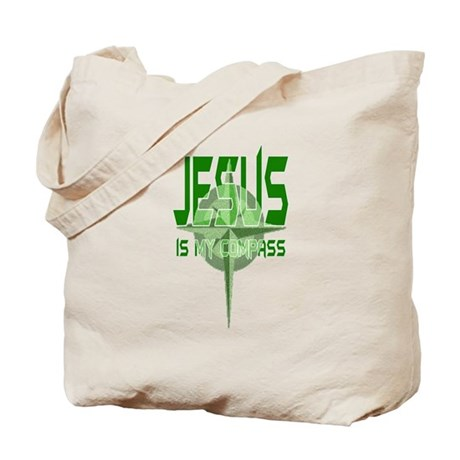 Jesus is My Compass - Green Tote Bag