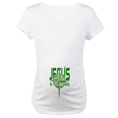 Jesus is My Compass - Green Maternity T-Shirt