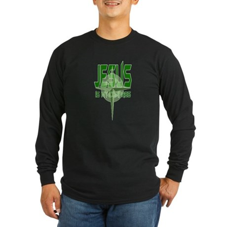 Jesus is My Compass - Green Long Sleeve Dark T-Shi