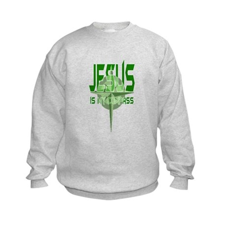 Jesus is My Compass - Green Kids Sweatshirt