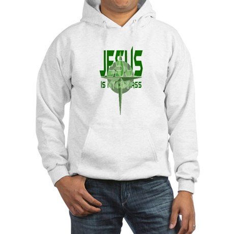 Jesus is My Compass - Green Hooded Sweatshirt