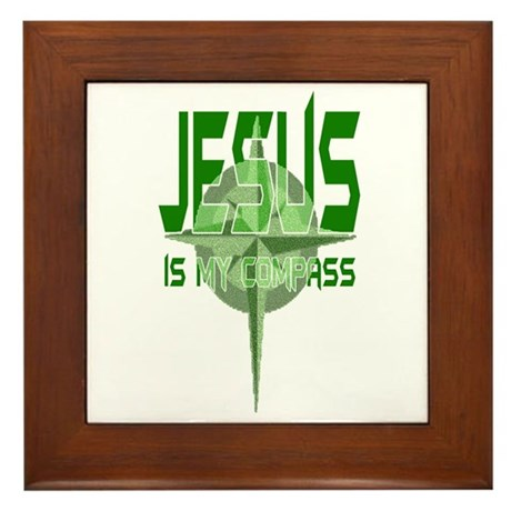 Jesus is My Compass - Green Framed Tile