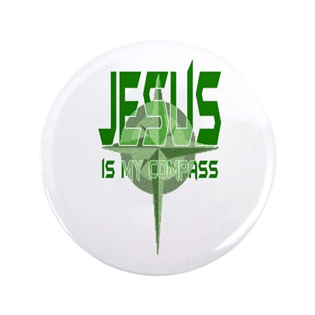 "Jesus is My Compass - Green 3.5"" Button (100 pack)"