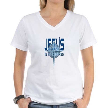 Jesus is My Compass - Blue Women's V-Neck T-Shirt