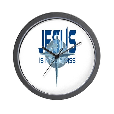 Jesus is My Compass - Blue Wall Clock