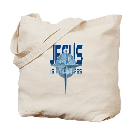 Jesus is My Compass - Blue Tote Bag