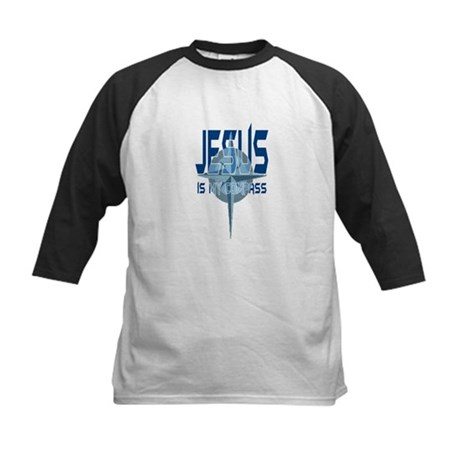Jesus is My Compass - Blue Kids Baseball Jersey