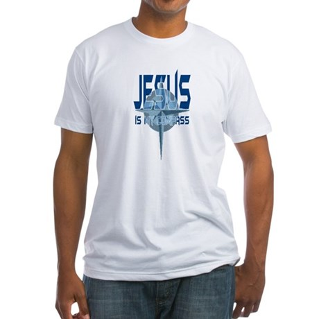 Jesus is My Compass - Blue Fitted T-Shirt
