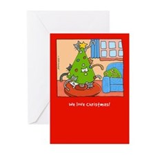 Cats Love Christmas Trees! Greeting Cards (Pk of 1