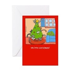 Cats Love Christmas Trees! Greeting Card