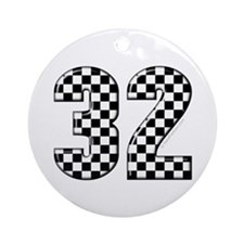 Cehckered Racing #32 Ornament (Round)