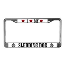 Sledding Dog License Plate Frame