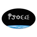 Peace-OM on earth at nite Oval Decal