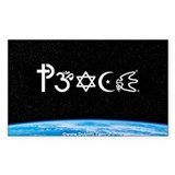 Peace-OM on earth at nite Rectangle  Aufkleber