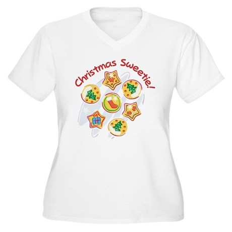 CHRISTMAS SWEETIE! Women's Plus Size V-Neck T-Shir