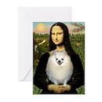 Mona / Pomeranian(w) Greeting Cards (Pk of 20)
