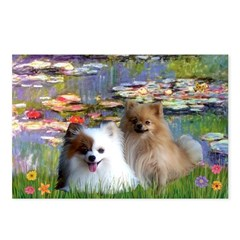 Lilies / 2 Pomeranians Postcards (Package of 8)