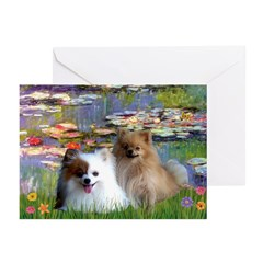 Lilies / 2 Pomeranians Greeting Cards (Pk of 20)