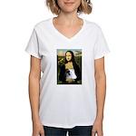 Mona / Pomeranian(r&w) Women's V-Neck T-Shirt