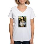 Mona/2 Pomeranians Women's V-Neck T-Shirt