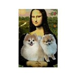 Mona/2 Pomeranians Rectangle Magnet