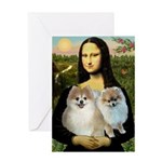 Mona/2 Pomeranians Greeting Card