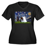 Starry/Pomeranian(r&w) Women's Plus Size V-Neck Da