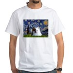 Starry/Pomeranian(r&w) White T-Shirt