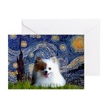 Starry/Pomeranian(r&w) Greeting Cards (Pk of 20)