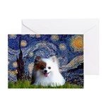 Starry/Pomeranian(r&w) Greeting Card