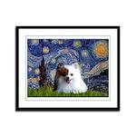 Starry/Pomeranian(r&w) Framed Panel Print