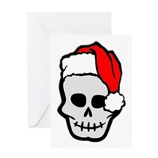 Christmas Santa Skull Greeting Card