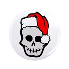 "Christmas Santa Skull 3.5"" Button"