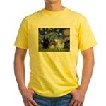 Starry/3 Pomeranians Yellow T-Shirt