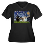 Starry/3 Pomeranians Women's Plus Size V-Neck Dark
