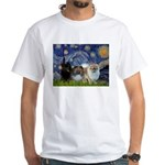 Starry/3 Pomeranians White T-Shirt