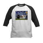 Starry/3 Pomeranians Kids Baseball Jersey