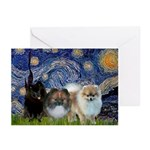 Starry/3 Pomeranians Greeting Cards (Pk of 20)