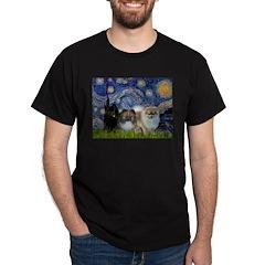 Starry/3 Pomeranians Dark T-Shirt