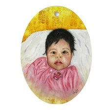 Guatemalan Girl Oval Ornament