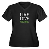 Live Love Volleyball Women's Plus Size V-Neck Dark