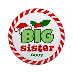 Big Sister Festive Christmas Ornament (Round)