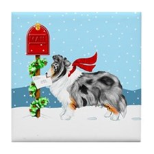 Blue Merle Sheltie Mail Tile Coaster