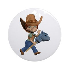 Cowboy Kevin Ornament (Round)