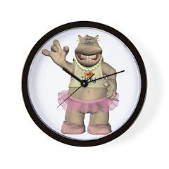 Heather Hippo Wall Clock