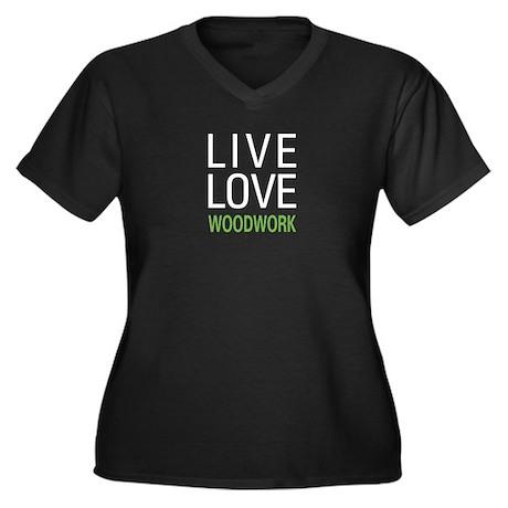 Live Love Woodwork Women's Plus Size V-Neck Dark T