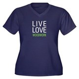 Live Love Woodwork Women's Plus Size V-Neck Dark T